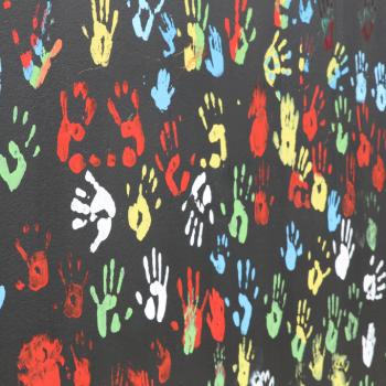 Orange Healing Garden Handprint Wallart